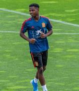 Ansu Fati en su primer día de entrenamiento con la selección española sub-21.