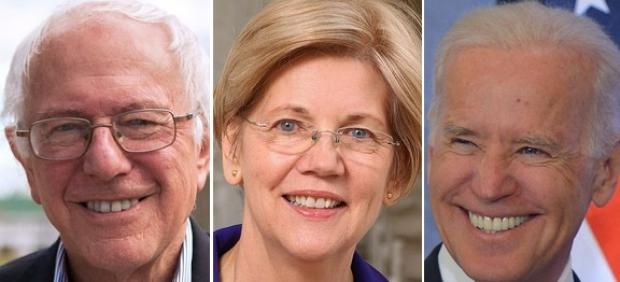 Bernie Sanders, Elisabeth Warren y Joe Biden.