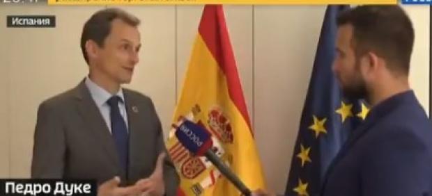 Pedro Duque, en la televisión rusa.
