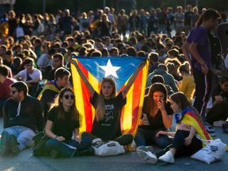 Protestas en la Gran Vía de Barcelona