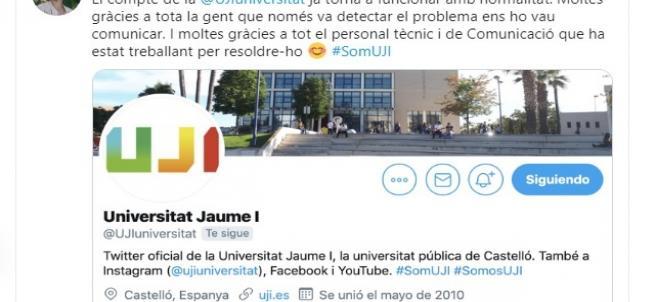 Missatge en Twitter de la rectora de l'UJI, Eva Alcón