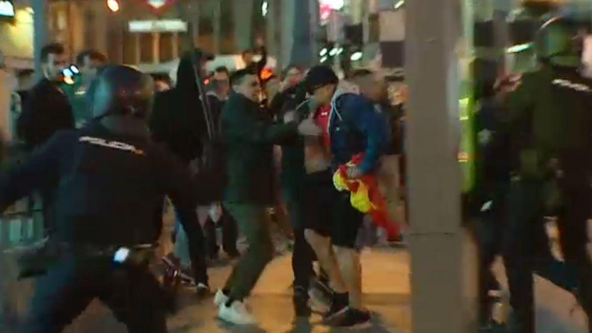Grupo ultraderechista ataca manifestacion legal en Madrid
