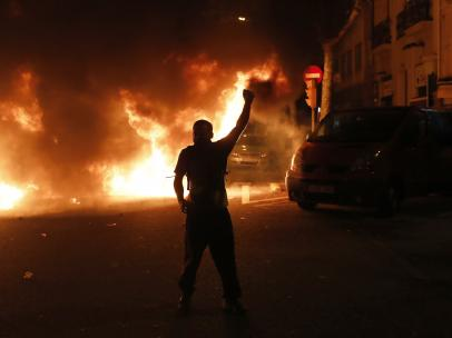 Barricadas e incendios en Barcelona