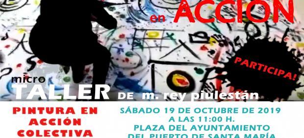 Cartel del taller 'Pintura de acción sobre el suelo con música' del IAJ en El Puerto
