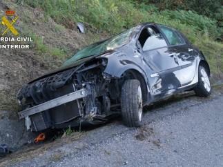 El vehículo tras el accidente