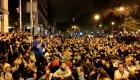 Los concentrados en Barcelona cantan el himno catalán